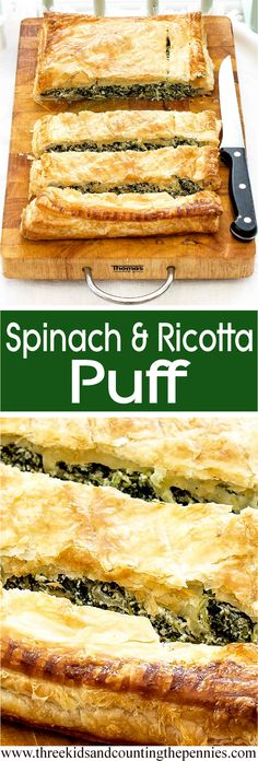 And Ricotta Puff A tasty vegetarian option for your holiday buffet table that even meat-lovers won't be able to resist.A tasty vegetarian option for your holiday buffet table that even meat-lovers won't be able to resist. Tasty Vegetarian, Vegetarian Options, Vegetarian Buffet, Vegetarian Casserole, Vegetarian Entrees, Puff Recipe, Puff Pastry Recipes, Recipe Tasty, Vegan Recipes