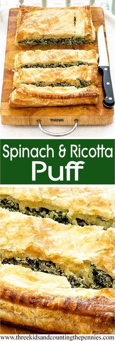 A deliciously light spinach and ricotta puff recipe.