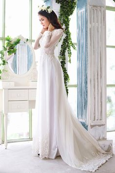 Ao Dai White Lace Wedding Dress Viet More