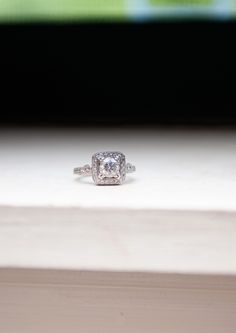 Engagement ring - square halo with round diamond - filigree