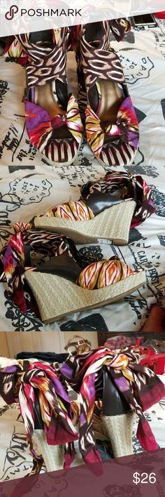 ⚘3/$50⚘NWT A.N.A. DIANE TRIBAL LACE UP WEDGES Excellent condition.  ⚘3 for $50⚘- Bundle any 3 items marked 3 for $50 and offer $50  See mannequin listing for size reference.   Also CHECK OUT my  🦄5 for $15🦄, 💋3 for $24💋 🦄3 for $50🦄 &♥️10 for $10♥️ SALE!  Why SHOP MY Closet? 💋Smoke/ Pet Free 💋OVER 1000 🌟🌟🌟🌟🌟RATINGS 💋POSH AMBASSADOR &TOP 10% Seller  💋TOP RATED 💋 FAST SHIPPER  💋BUNDLES DISCOUNT 💋EARN VIP DOLLARS W/ EVERY PURCHASE ❤HAPPY POSHING!!! 💕 a.n.a. Shoes Wedges