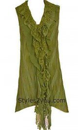 Green Ladies Tank Top! only $46 Pretty Angel Clothing Felicity Tow Piece Vintage Top In Green