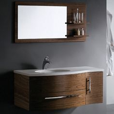 Floating Bathroom Vanities, otherwise known as wall-mounted, allow you to preserve floor space in your bathroom. This is just one way that you can help make your small bathroom look bigger as floor space is the baseline for measuring the perceived size of a room.