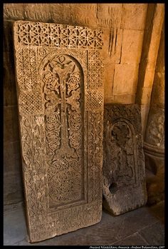 Khatchkars (Stone Crosses) in Noravank Church, Armenia