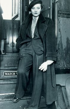 Marlene Dietrich, inspiration for characters such as Dillinger,Jesse James and Capone. Male characters who may played by females. (strong)