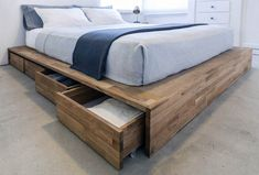Fancy Bed Frame With Storage Bed Base Wood With Drawers Middle Collective Feel Some Warmth In regarding Fancy Bed Frame With Storage Platform Bed With Storage, Diy Platform Bed, Under Bed Storage, Storage Beds, Diy Storage, Diy Bedframe With Storage, Storage Drawers, Diy Drawers, Storage Design