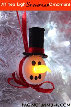 Tea Light Snowman #Ornament- this adorable #DIY #craft is fun for everyone!