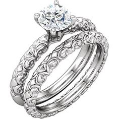 14kt White Sculptural Engagement Ring Base