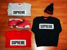 Supreme Box Sweaters Set and Shoes Get supremely cool with this set of cool Supreme sweaters and shoes! Supreme Sweater, Streetwear Shop, Sweater Set, Muse, Street Wear, Street Style, Sweatshirts, Box, How To Wear