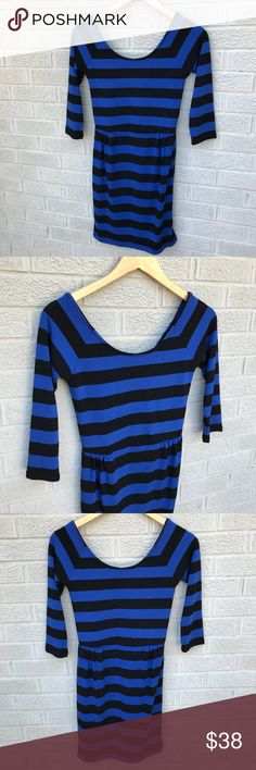"""Anthropologie Coincidence & Chance Striped Dress Anthropologie Coincidence & Chance Blue & Black Striped Dress with Double scoop Neck! Such a soft & flattering dress! Love the pleating on each sides! Size Small. Acrylic & Spandex. 32"""" Long & 13.5"""" across. 3/4"""" sleeve length. Like new! KG2228101817 Anthropologie Dresses"""