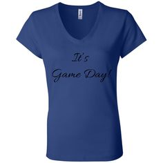 It's Game Day With Black Letters - Bella + Canvas Ladies Jersey V-Neck T-Shirt