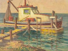 "Rolla Taylor (1872-1970), ""The Old Shrimper, Rockport, Texas"", 1955, oil on canvas, canvas size: 12 x 16 in., frame size: 16 x 20 in.  Rolla Sims Taylor, originally from Galveston, Texas, started painting at the age of 14. Before arriving in San Antonio, Texas in 1889, the Taylor family spent several years in Houston and then traveled to Cuero, Texas by covered wagon. Taylor graduated from the Cuero Institute and later studied in San Antonio with Robert Jenkins Onderdonk, Jose Arpa and…"