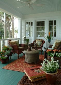 Old Florida River House - eclectic - porch - other metro - Island Paint and Decorating.SO NICE. Love the porch! Old Florida, Florida Style, Outdoor Rooms, Outdoor Living, Outdoor Photos, Outdoor Kitchens, Patio Design, House Design, Front Verandah