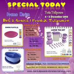 Promo Harian Tulipware 2 Free 1   5 - 6 Desember 2013, Dining Plate, Oval Lunch Box, Large Tea Set