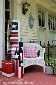 """Front Porch - 4th of July Decorating • Tutorials and ideas, including this """"DIY wooden firecrackers"""" by 'Hoosier Homemade'!"""