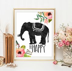Inspirational art Elephant print Be happy by LittleEmmasPrints