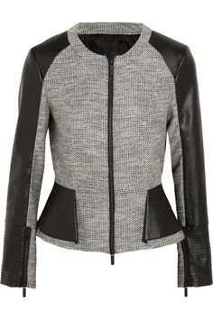 Karl Lagerfeld | Metallic tweed and faux leather peplum jacket | NET-A-PORTER.COM