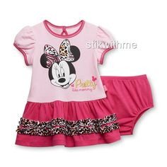 nwt #disney #baby infant girl's ruffled dress & diaper cover minnie mouse 6-9 mos from $15.0
