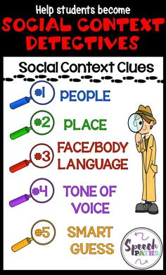 Learning about social context clues is FUN when you're a detective! In our social skills groups, kids learn to focus on important clues.  Speech therapists and counselors can easily use with Social Thinking curriculum.  #socialskills