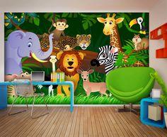 Animals in Safari Wallpaper Mural by WallandMore! Great Nursery Idea to Create the Nursery of your Dreams.