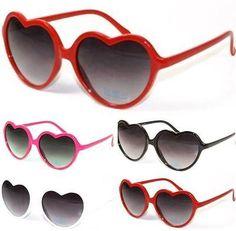 Womens Ladies Cute Stylish Heart Shaped Sunglasses - Hearts