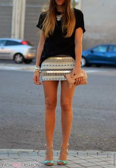 Street fashion style with mini skirt and black t-shirt