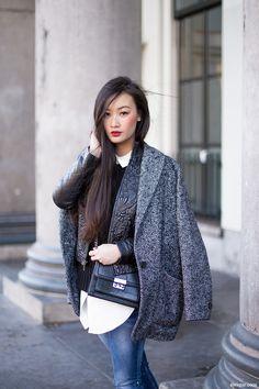 Mango tweed coat, Mango bag, Antik Batik embroidered jacket, Senso boots