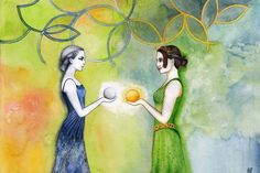 Of Sun and Moon by RobleskaZeppelin.deviantart.com on @DeviantArt.  From Yavanna's singing and Nienna's crying came one flower of Telperion and one fruit of Laurelin. But the trees were dead. From the fruit and the flower, Varda and Aulë made two heaven lamps to shine above the world...