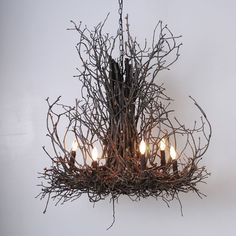 Beautiful for outdoor parties! (as well as indoor decor). #Natural Light Twig Chandelier  #Parties
