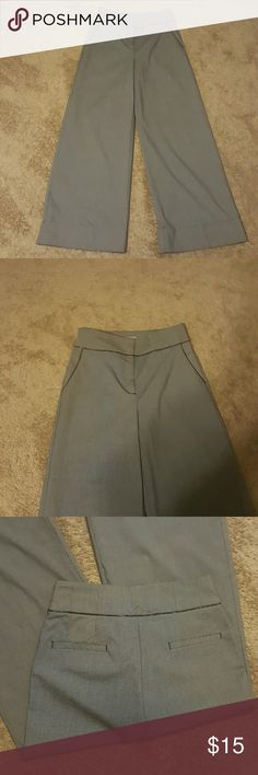 Wide leg pants with leather like piping. Gray and black wide leg pants with stretch Worthington Pants Wide Leg