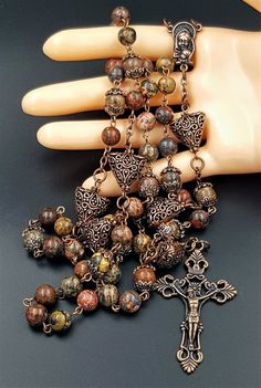 Leopard Jasper Catholic Handcrafted Gemstone Rosary with Filigree Our Father Beads for protection balance and serenity. - Leopard jasper 8 mm Ave beads - Antique filigree 15 mm Our Father Beads -Mar. Mom Jewelry, Jewelry Crafts, Beaded Jewelry, Handmade Jewelry, Jewelry Making, Rosary Prayer, Holy Rosary, Prayer Beads, Catholic Jewelry
