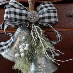 This item is unavailable Add this adorable galvanized bell swag to your farmhouse country christmas decor, 2 galvanized bells a swag of pines and buffalo plaid black white check bow . Just so country christmas cute . 4 wide x 6 long. Fall Door Decorations, Country Christmas Decorations, Farmhouse Christmas Decor, Primitive Christmas, Rustic Christmas, Farmhouse Decor, Primitive Snowmen, Father Christmas, Holiday Decorating