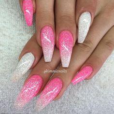 Ombre Nail Designs, Acrylic Nail Designs, Nail Art Designs, Nails Design, Glitter Nail Designs, Stylish Nails, Trendy Nails, Pink Acrylic Nails, Pink Glitter Nails