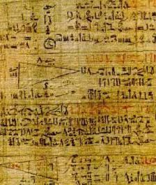A part of the largest surviving mathematical scroll, the Rhind Papyrus (written in hieratic script), asks questions about the geometry of triangles. It is, in essence, a mathematical text book. The surviving parts of the papyrus show how the Egyptian engineers calculated the proportions of pyramids as well as other structures. Originally, this papyrus was five meters long and thirty three centimeters high.