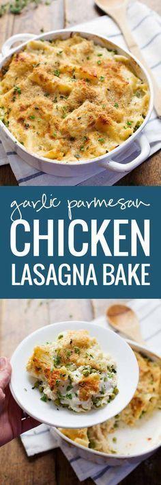 Garlic Parmesan Chicken Lasagna Bake! Layers of lasagna noodles, chicken, peas, creamy garlic Parmesan sauce --> no cans, all real, totally yummy. 300 calories.   pinchofyum.com