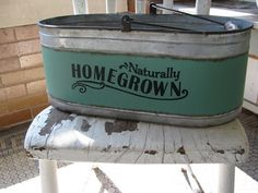 Our Homegrown' Tin Bucket  is perfect for planting seasonal flowers or for a nice houseplant or use for a completely different purpose in your home. https://www.primitivestarquiltshop.com/collections/farmhouse-primitives/products/homegrown-tin-bucket #primitivefarmhousedecor