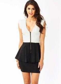 peplum zipper dress.