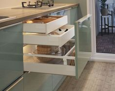 See more drawers & interior fittings Kitchen Cupboard Doors, Kitchen Pantry Cabinets, Modern Kitchen Cabinets, Kitchen Furniture, Mint Kitchen, Kitchen Dinning, Ikea Kitchen, Kitchen Decor, Ikea Design