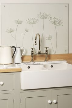 The glass splashback by deVOL is hand painted in your choice of five designs or can be supplied blank. LIKE THIS SINK, but double not needed; like glass backsplash Kitchen Taps, Glass Kitchen, New Kitchen, Kitchen Ideas, Cheap Kitchen, Kitchen Things, Green Kitchen, Wooden Kitchen, Rustic Kitchen