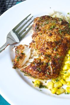 Cod filets are rubbed with a flavorful spice mixture before roasting to perfection. Top it off with a delicious lime-butter sauce and serve over brown rice and sweet corn for a fantastic weeknight meal! Im always looking for great ways to enjoy fish tha Seafood Dishes, Fish And Seafood, Seafood Recipes, Dinner Recipes, Cooking Recipes, Healthy Recipes, Grilled Cod Recipes, Baked Cod Recipes Healthy, Cod Fillet Recipes