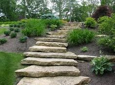 Substantial stepping stone walk way.