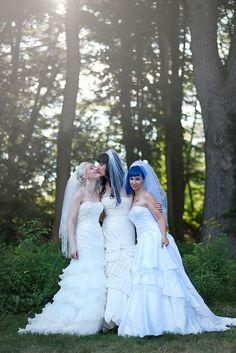 Fun LGBT Wedding: Kitten, Brynn, and Doll's rainbow garden of poly love three-bride wedding. Lesbian Wedding, Wedding Bride, Wedding Dresses, Wedding Ideas, Wedding Inspiration, Wedding Story, Formal Wedding, Wedding Bells, Wedding Cake