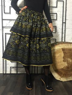Designer double-layer Black Gold midi-skirt. Made of ethnic cotton. Exclusive Boho-chic!