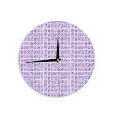"Marianna Tankelevich ""Cute Birds Purple"" Pink Lavender Wall Clock"