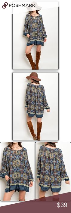 """✂️PRICECUT✂️Relaxed Boho Peasant Romper L XL Relaxed carefree fit absolutely beautiful boho chic romper. Yolk tie front with peasant sleeves. Be gorgeous & in one of this seasons hottest trends. Can be worn year 'round with boots to flip flops. Floral/tribal print in blue, olive, black & ivory with brown background.   Small (Will Fit Medium)  Bust/Waist 48"""" Length 32""""  Medium (Will Fit Large) Bust/Waist 49"""" Length 33""""  Large (Will Fit XL) Bust/Waist 50"""" Length 34"""" Pants Jumpsuits & Rompers"""