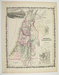 Antique Palestine Map Vintage Syria Lebanon Israel Old 1861 Original Johnson Unique Wedding Christmas Gift for Home 1st Anniversary Gift by OldMapsandPrints