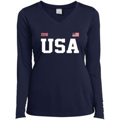 USA USA USA 2018 ACTIVE Sport-Tek Ladies' TEAM LS Performance V-Neck T-Shirt