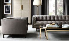 Metallic details in a room by Restoration Hardware