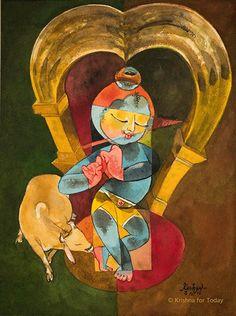 Govinda. #watercolour #krishnafortoday