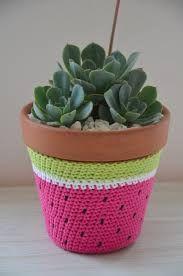 Resultado de imagen para porta maceta en crochet